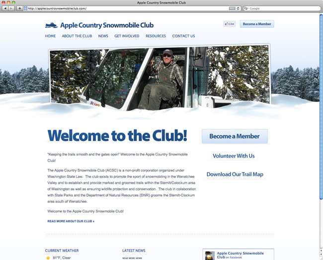 apple country snowmobile club website design